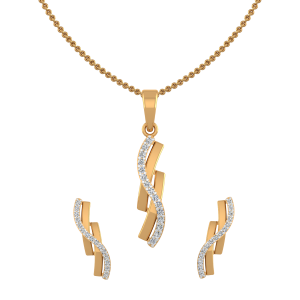 Golden Helix Diamond Pendant Set