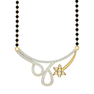 The Nazakat Mangalsutra With Black Beads Gold Chain