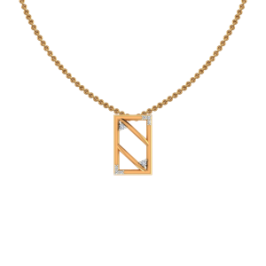 The Rectangle Gold Diamond Pendant