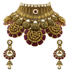 Bridal Gold Necklace Set With Red Stones & Coin Motif