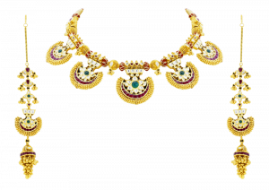 Elongated Multicolour Gold Necklace & Earrings Set