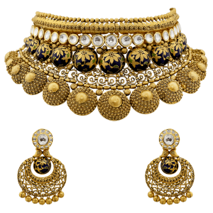 Bridal Gold Necklace Set With Enamel & Floral Motif