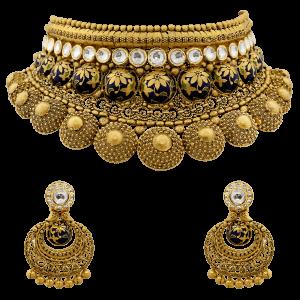 Bridal Gold Necklace Set With Enamel & Floral Motif