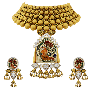 Bridal Gold Necklace Set With Enamel & Peacock Motif