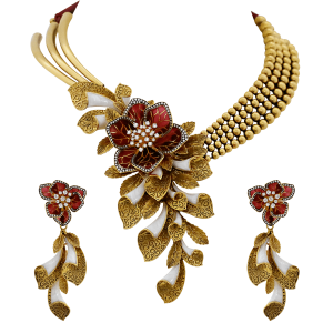 Designer Bridal Gold Necklace Set With Enamel & Floral Motif