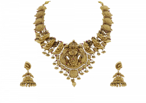 Intricately Shaped Gold Maharani Necklace & Earrings Set