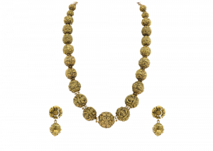 Rosary Beaded Gold Necklace & Earrings Set