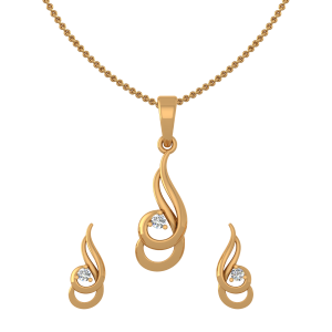 Golden Twirls Diamond Pendant Set