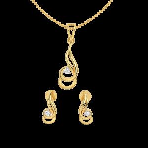 Golden Twirls Diamond Pendant Set