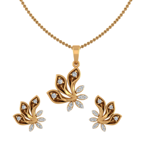 Floral Twirls Diamond Pendant Set