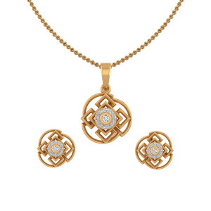 Golden Swirls Diamond Pendant Set