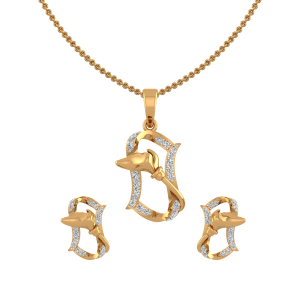 Golden Frame Diamond Pendant Set