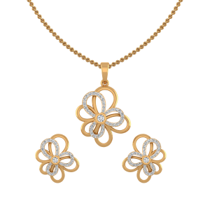 Floral Fabulous Diamond Pendant Set