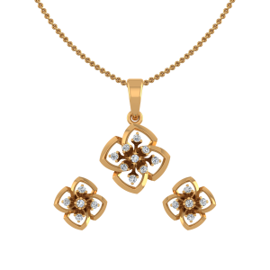 The Dramatic Flower Diamond Pendant Set
