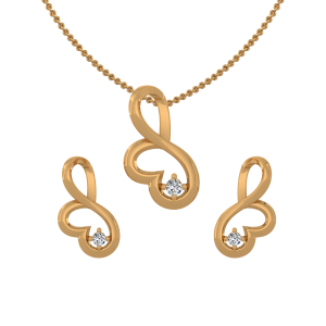 Modest Heart Diamond Pendant Set