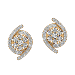 Floral Essence Diamond Stud Earrings