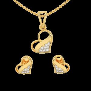 Melting Heart Diamond Pendant Set