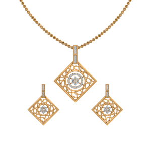 Paisley Squared Diamond Pendant Set
