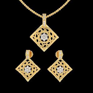 Paisley Squared Diamond Pendant Set