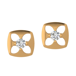 Floral Synonym Diamond Stud Earrings