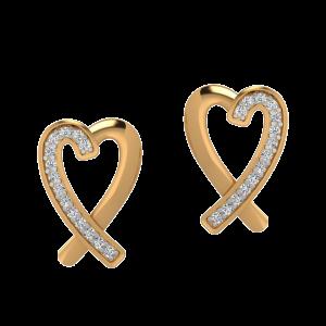 Hearts Crossover Diamond Stud Earrings