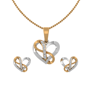 The Heart Infinity Diamond Pendant Set