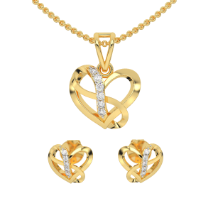 The Heart Infinity Diamond Pendant Set