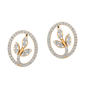 Rosette Rise Diamond Stud Earrings