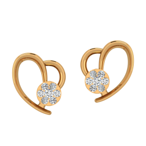 Fabulously Heart Diamond Stud Earrings