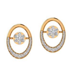 Funky Ellipse Diamond Stud Earrings