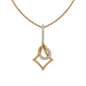 Out Of Curve Gold Diamond Pendant