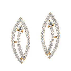 Graceful Leaf Diamond Stud Earrings
