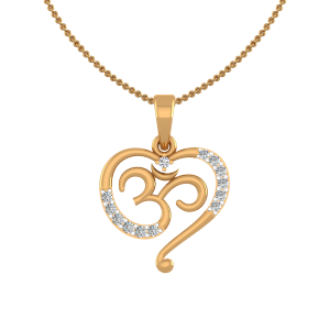 The Om Heart Gold Diamond Pendant