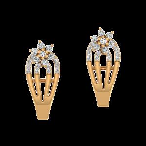 Posy Bouquet Diamond Half Round Hoop Earrings