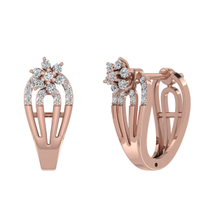 Posy Bouquet Diamond Half Round Hoop Earrings