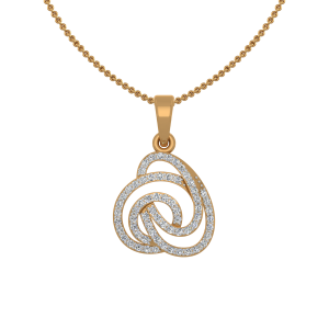 Golden Swirls Gold Diamond Pendant
