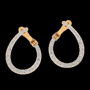 Peek A Drop Diamond Hoop Earrings