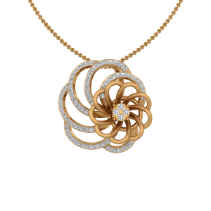 The Floral Facade Gold Diamond Pendant