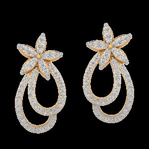 Floral Entry Diamond Drop Earrings