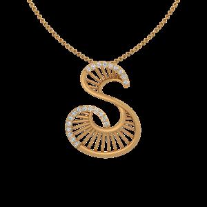 The Sumptuous Letter S Gold Diamond Pendant