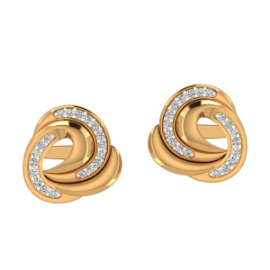Golden Tides Diamond Stud Earrings