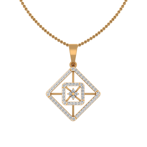 The Stellar Squares Gold Diamond Pendant