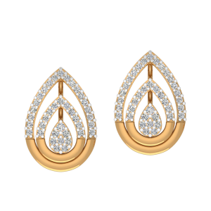 Pear Halos Diamond Stud Earrings