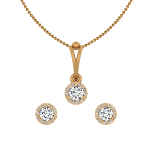 Solitaire Drama Gold Diamond Pendant Set