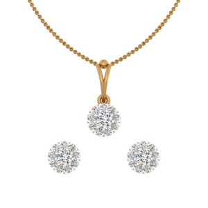 The Solitaire Strike Gold Diamond Pendant Set