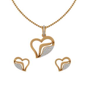 The Blossom Heart Gold Diamond Heart Pendant Set