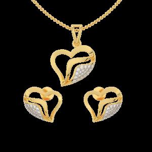 The Blossom Heart Gold Diamond Heart Pendant Set