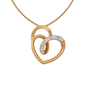 Heart Loops Gold Diamond Heart Pendant