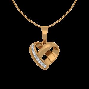 Twist N Turn Gold Diamond Heart Pendant