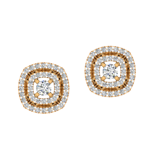 Loopy Pattern Diamond Stud Earrings